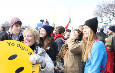 The SSFL group attends a rally at the National Mall in 40 degree weather before the march begins.