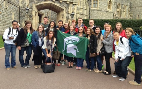 On a study abroad trip to England, Stockbridge High School alumni Morgan Ward (third from right) visited castles on a global perspective business trip with other Michigan State University students.