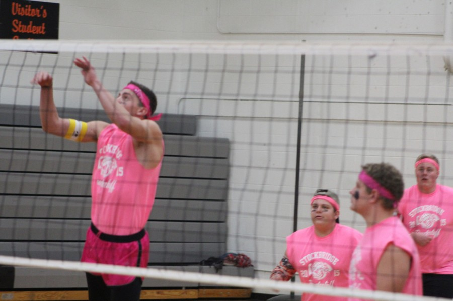 Seniors Collin Curtis, Bailey Stolarz, Zachary Stacy and Tristan Breed participate in the November 13 Powdertuff tournament, which was held to help raise money for the junior prom. The tournament raised $839. The money was raised by teams paying an entrance fee, selling concessions, and a 50/50 drawing.
