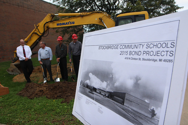 Members+of+the+board+of+education+dig+to+symbolize+the+beginning+of+construction+of+the+school+renovations.+An+additional+gym+and+science+classrooms+are+all+planned+for+the+remodel.