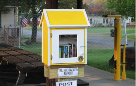 Located in Munith Park, a little yellow library sits under the pavillion. Take a seat at the table and enjoy a book. English teacher Jessica Martell plans to make use of the little library.