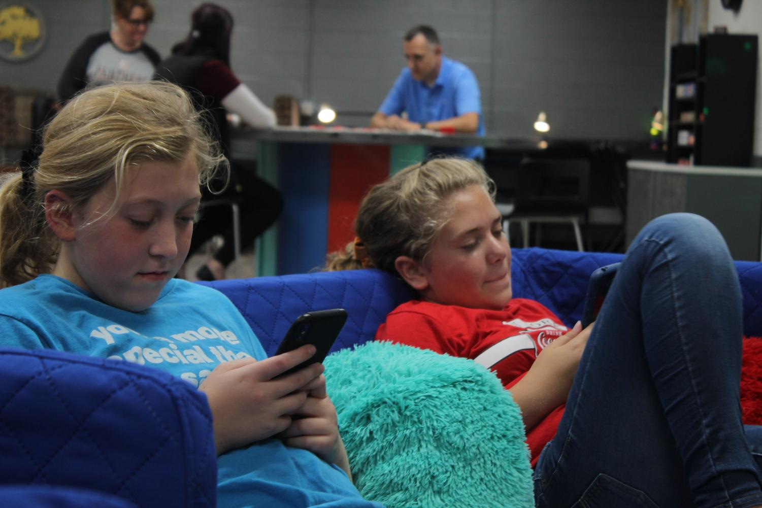 """The Teen Center is really fun. It is a really great place for homework and just relaxing,"" seventh grader Lily DuWig said. With her friend Jessica Sparks, DuWig attended the open house. Relaxing on the couch and being able to chill highlights the perks of the Teen Center."