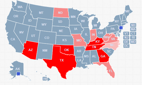 Dark Red states symbolize the states that have Bible Literacy classes. The lighter red states symbolizes the states that are trying to get Bible Literacy classes.  The lightest red state symbolizes the state that offers school credit for taking off campus classes.