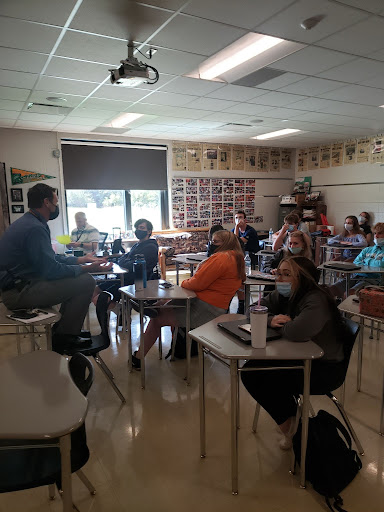 Pulling together ideas for the undecided homecoming dance, Jeff Trapp and the leadership class work together to get solutions. The students pitched ideas to Trapp for a safe dance, respecting the COVID-19 guidelines.