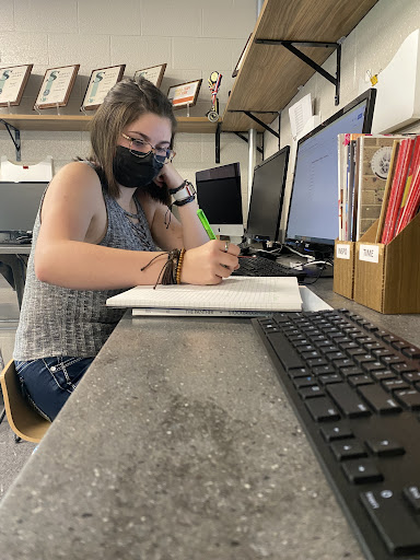 Planning the 2022 yearbook page ladder, senior editor-in-chief Alexandria Teachout begins the process of creating the publication. After four years on the staff, Teachout became the student leader for the club.