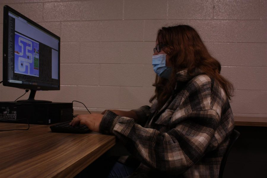 Senior Sam Nichols playing Bloons tower defense in the computer lab. Like many students in the school, Sam likes to play video games in her free time.